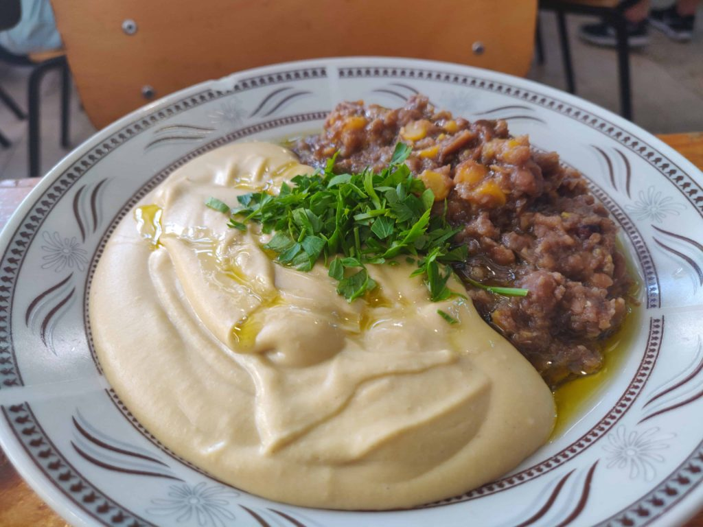 Double Hummus Platter Levinsky Market Tel Aviv