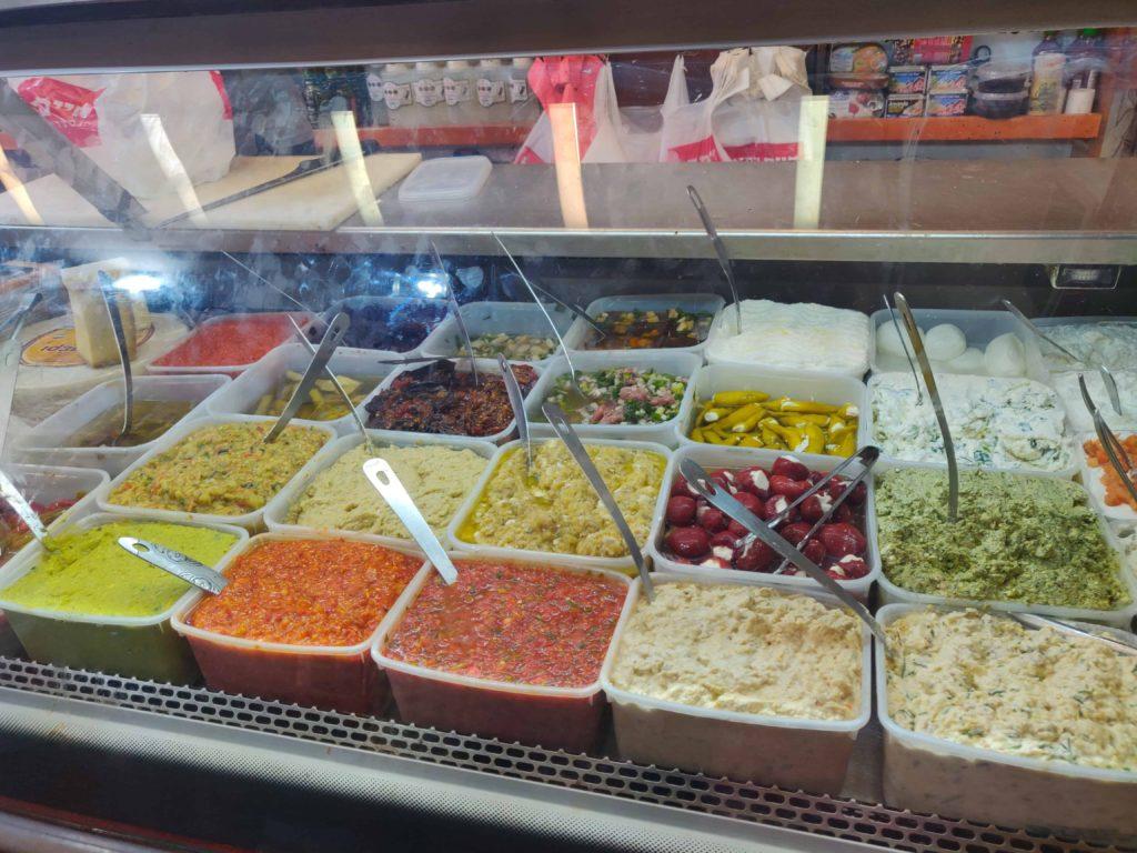 Variety Of Dips Levinsky Market Tel Aviv