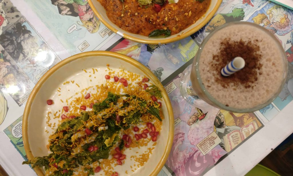 The Nerdy Indian Cafe Crumbly Palak Patta Chaat And Thandi Coffee