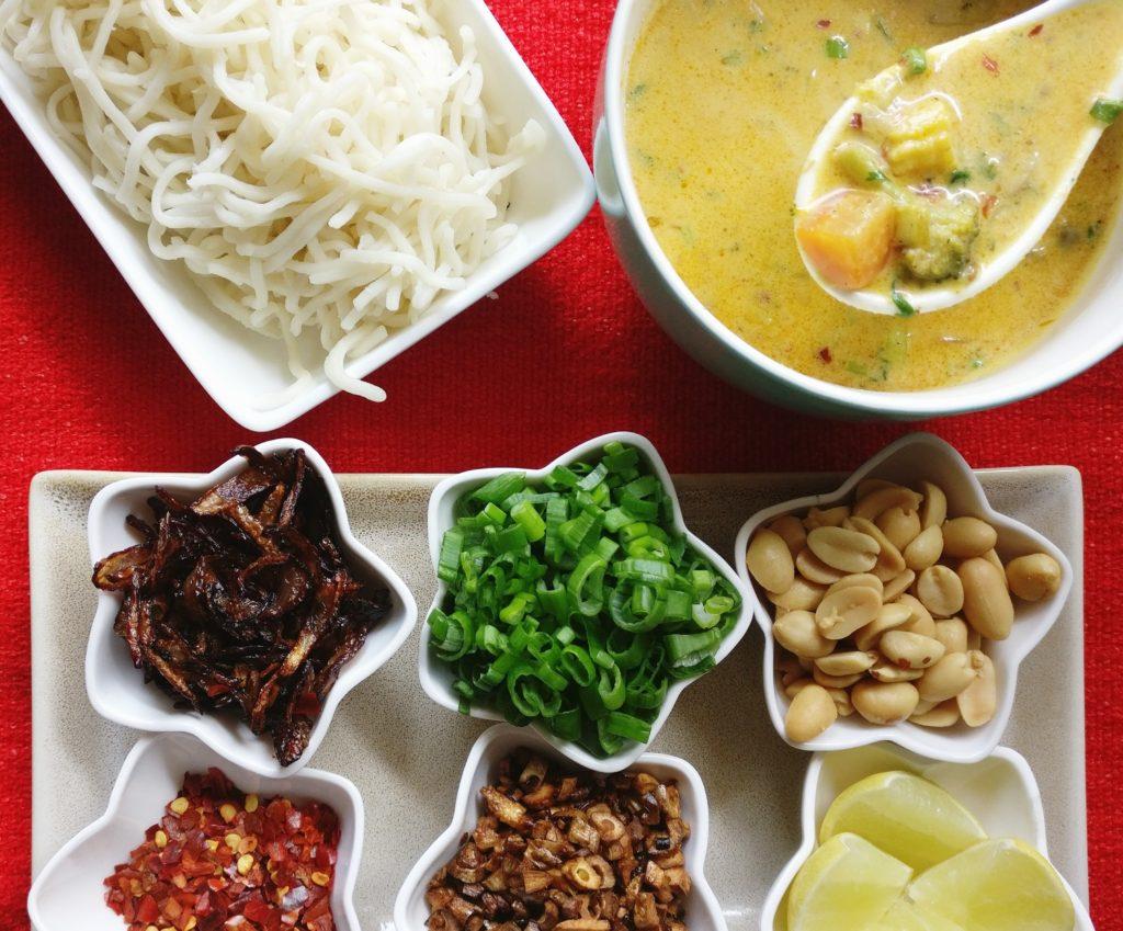 Vegetarian Khow Suey Burmese Noodle Soup