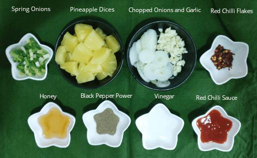 Honey Chilli Pineapple Ingredients